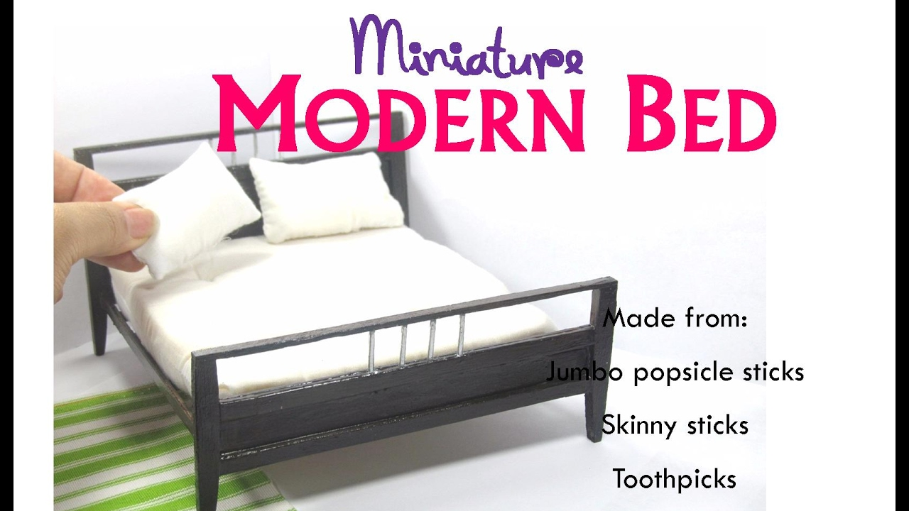 DIY Modern Contemporary Bed Dollhouse Miniature Furniture ...