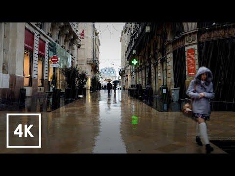 Walking in Heavy Rain Walk Binaural asmr / BORDEAUX 4k France Ste Catherine Nov 7 19