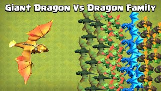 Giant Dragon Vs Dragon Family | Clash of Clans | Boss Dragon | Mega Dragon