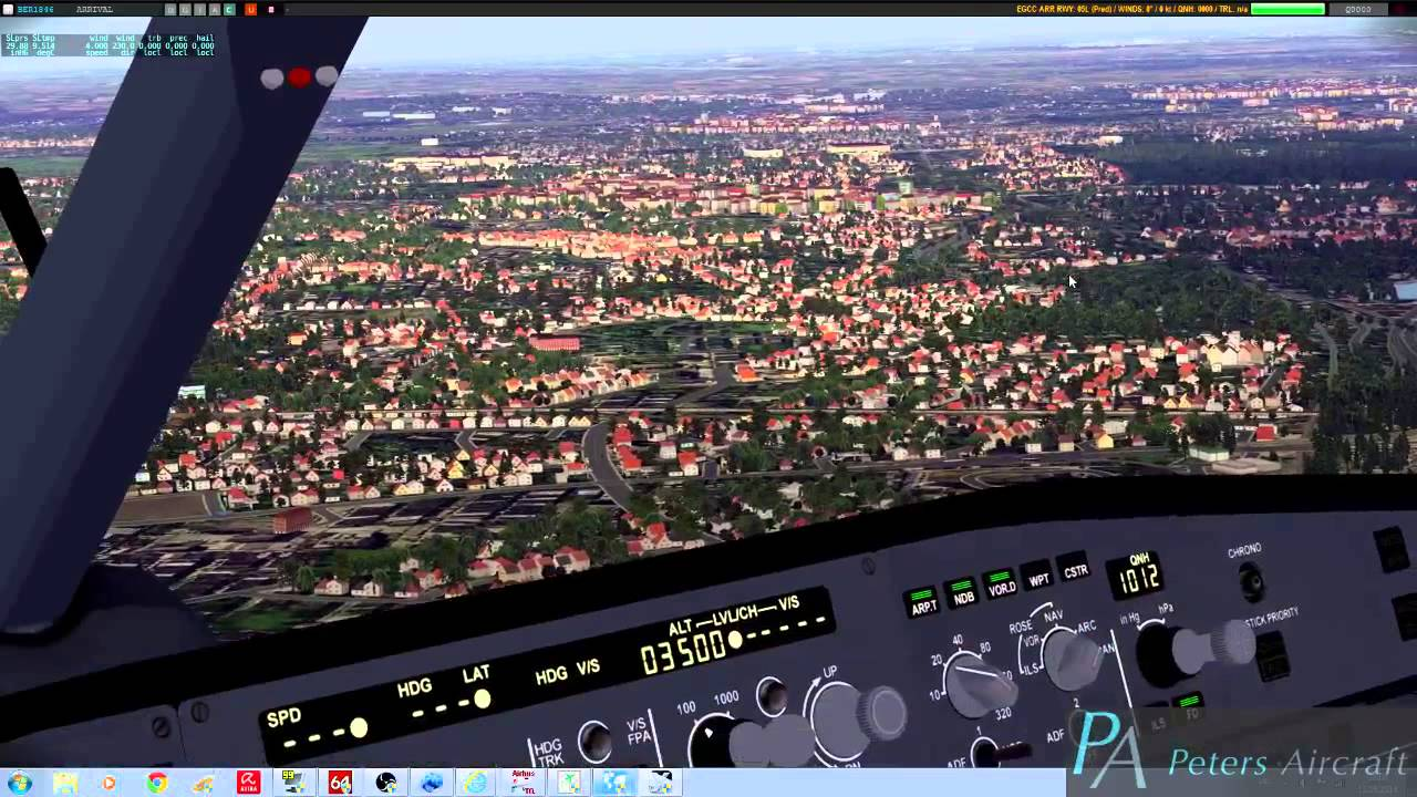 X-Plane 10: Peters Aircraft A321 landing at Manchester