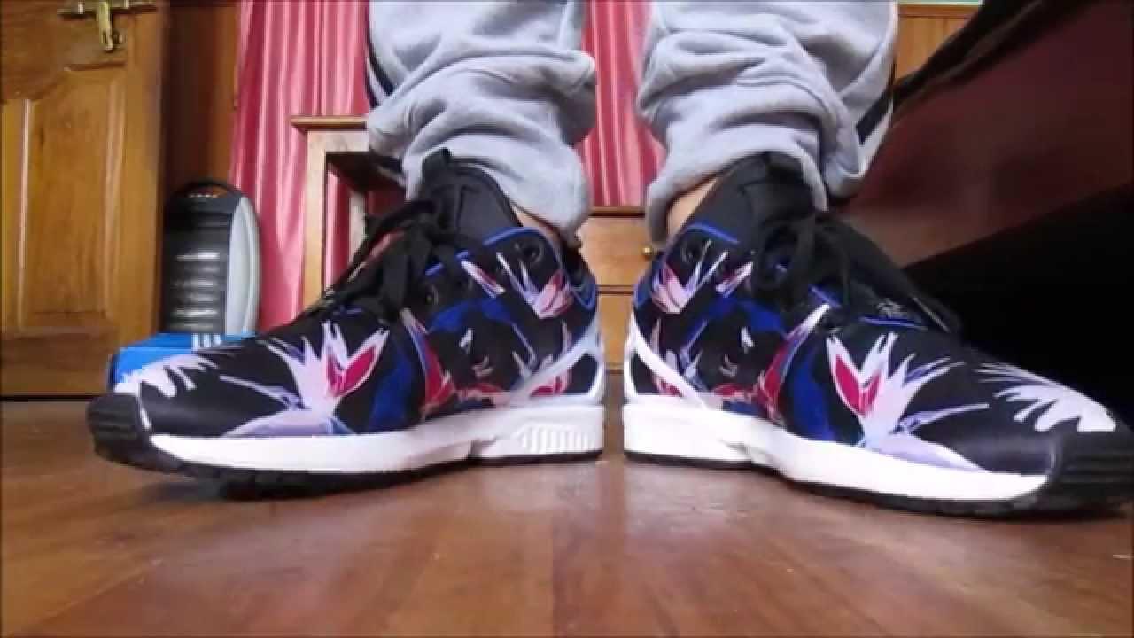 adidas zx flux nps hawaiian floral unboxing adidas zx flux nps floral on  feet