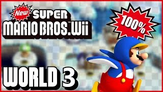 New Super Mario Bros Wii - World 3 (Winter) 100% multiplayer walkthrough