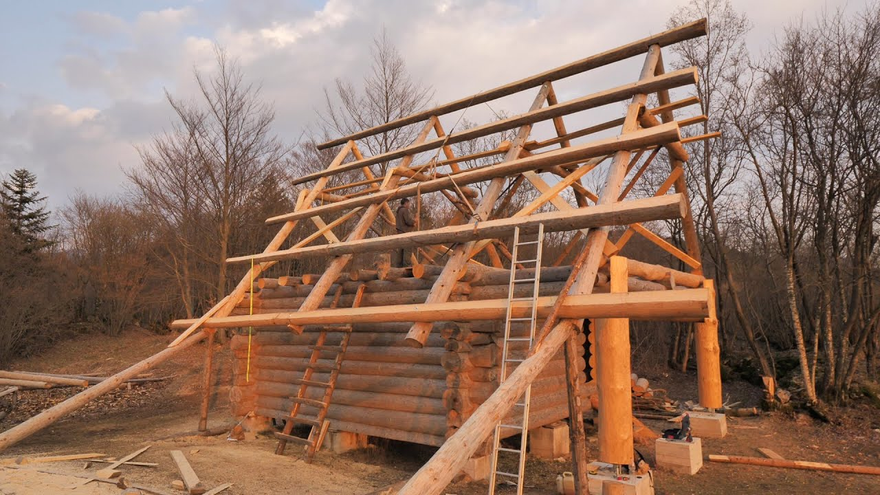 Building Off Grid Log Cabin S 2 Ep 9 Roof Rafters Youtube