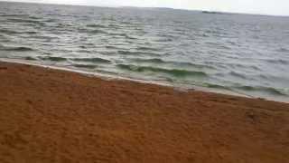 Storm winds heavy rain over the sea waves