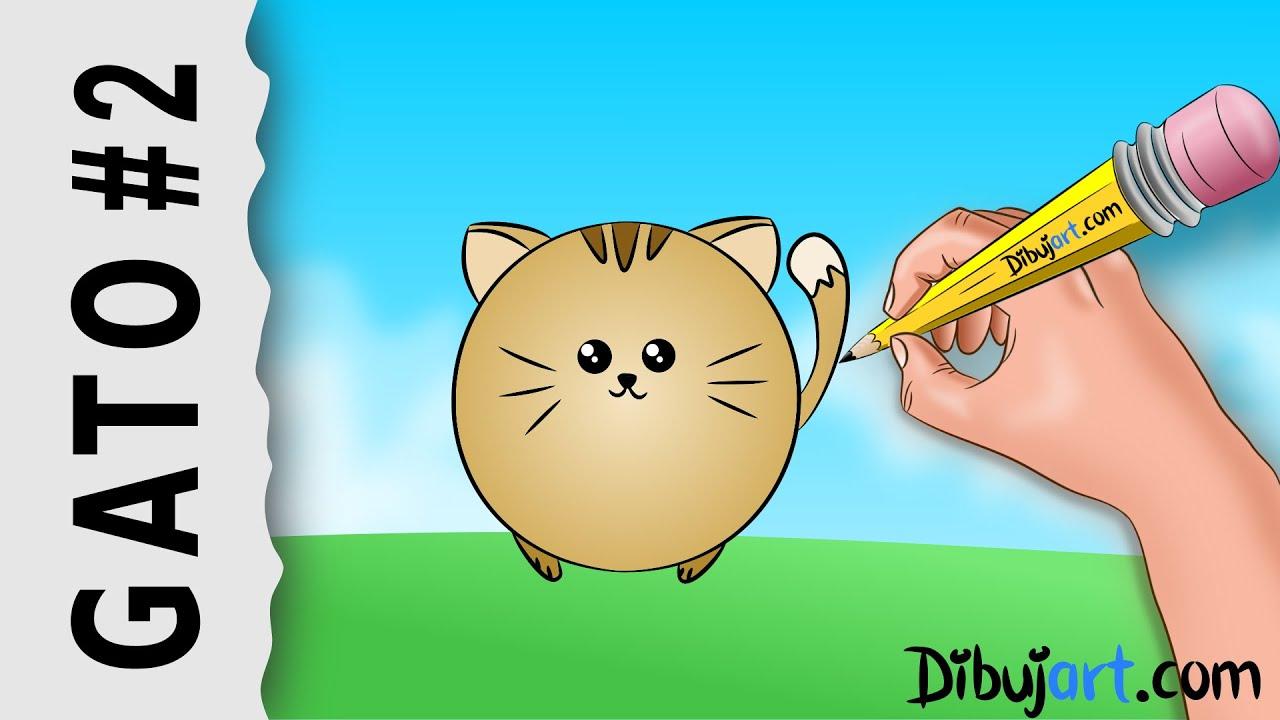 Cmo dibujar una Gato fcil Kawaii 2  Serie de dibujos de Gatos