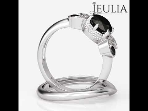 a3b583160a Jeulia Three Stone Round Cut Created Black Diamond Wedding Set- Jeulia.com. Jeulia  Jewelry