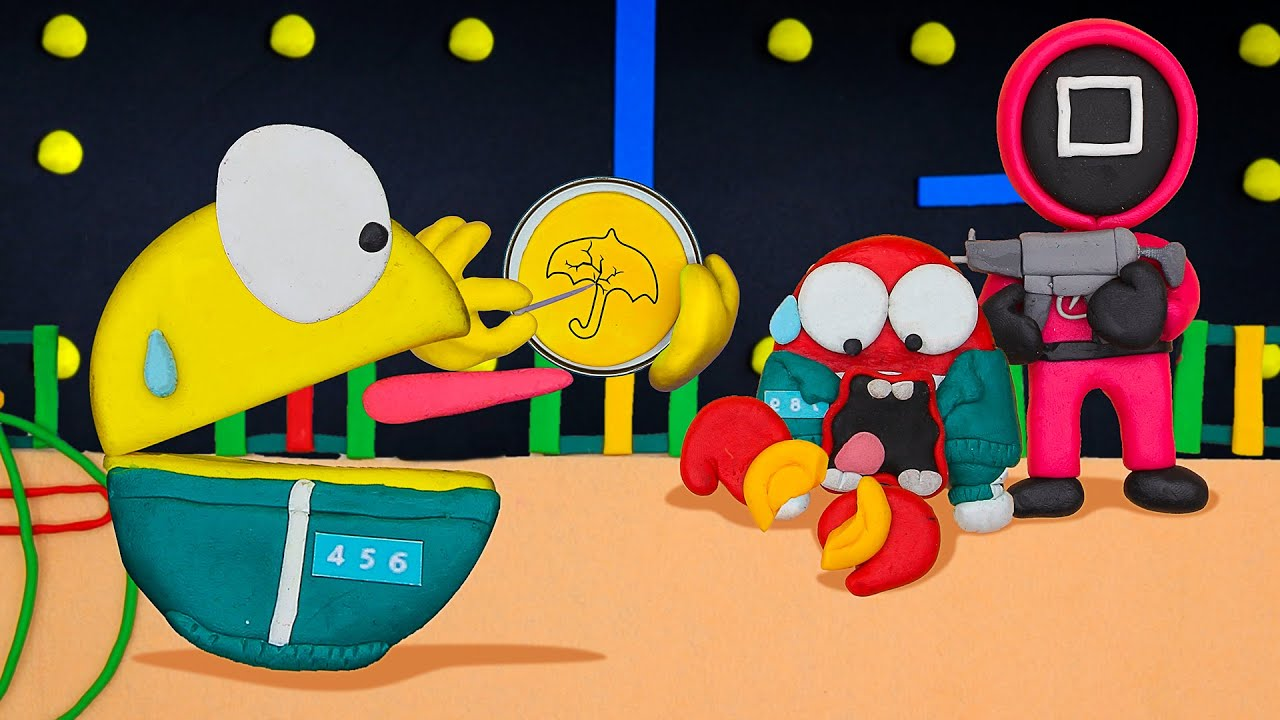 Pacman In Dalgona Candy Challenge   SQUID GAME 오징어 게임   Stop Motion