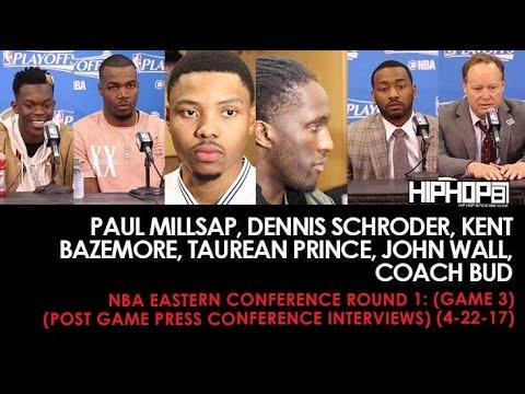 Round 1 Paul Millsap, Dennis Schroder, Kent Bazemore, Taurean Prince, John Wall (Interviews)