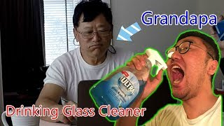 Drinking Glass Cleaner In Front of Grandpa Prank