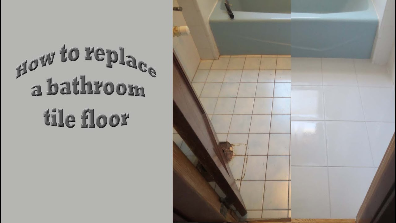 Strat To Finish Replace Old Bath Tile Floor With New Porcelain Tile Youtube