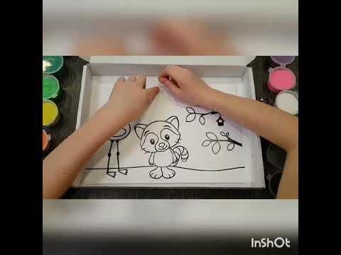 Раскраска трафарета Енот и Фламинго с помощью набора ...