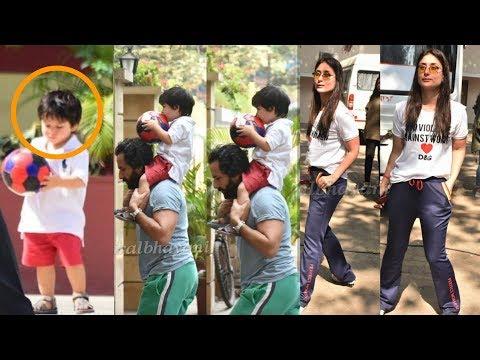 Kareena Kapoor Khan first time plays footbal with son Taimur Ali and Hubby Saif Ali Khan