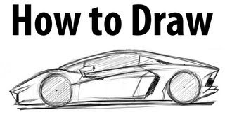 How to draw a Lamborghini Aventador - Sketch it quick!(Learn how to draw a Lamborghini Aventador. You should be able to do it in around 6 minutes once you understand the proportions. The wheelbase is around 3 ..., 2012-03-20T04:08:20.000Z)