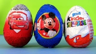 Mickey Mouse Surprise Egg Kinder Surprise Eggs Disney Pixar Cars HOLIDAY edition Sorpresa Huevos