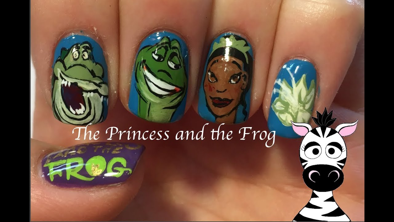 The Princess And The Frog Nail Art Tutorial (REQUEST) - YouTube
