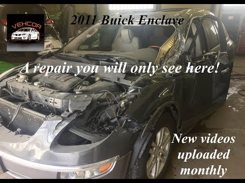 2011 Buick Enclave semi truck hit, cowl, roof and a pillar repair time lapse video.