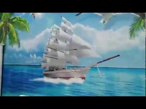 Trang trí phòng ngủ với tranh 3D cảnh biển   Tranh 3D Dán Tường