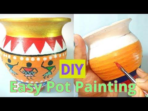 DIY Easy Pot painting | Warli art | Ancient Indian art