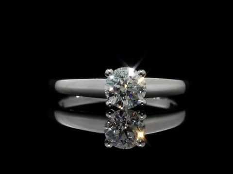 Diamond Solitaire Engagement Ring 1/2 Carat, 18K White Gold | MyJewelryBox