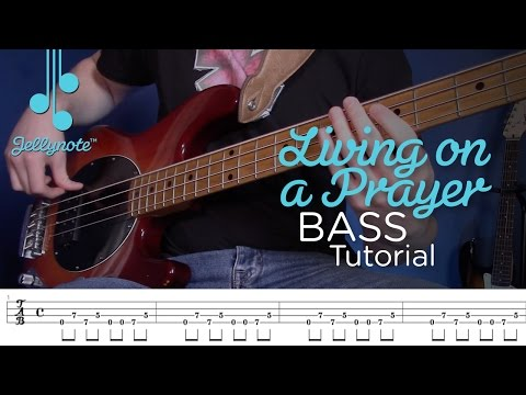 Livin on a Prayer Bon Jovi - Bass Tutorial IN UNDER 5 MINUTES with Tabs (Jellynote Lesson)