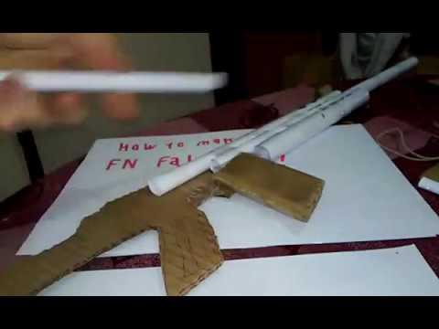 How to make a cardboard FN FAL submachine gun that shoots part 1/2