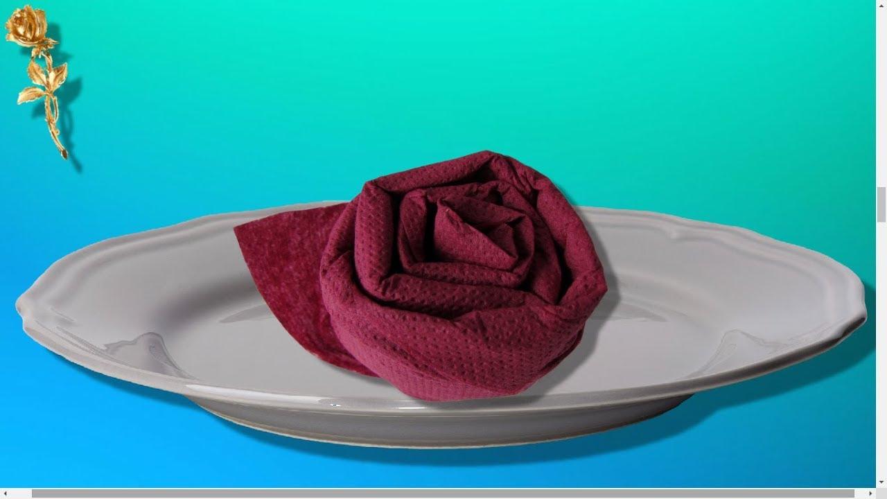 Pliage De Serviette Rose Très Facile Youtube