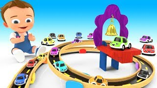 Cartoon Cars Racing Slider Track Wooden Toy Set 3D Learning Colors for Children Kids with Cars Toys