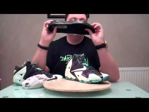huge discount a1a06 9be3b Nike LeBron XI 11 Gator King 647780-735 Cashmere Green Glow-Purple Dynasty  On Feet Review All Star