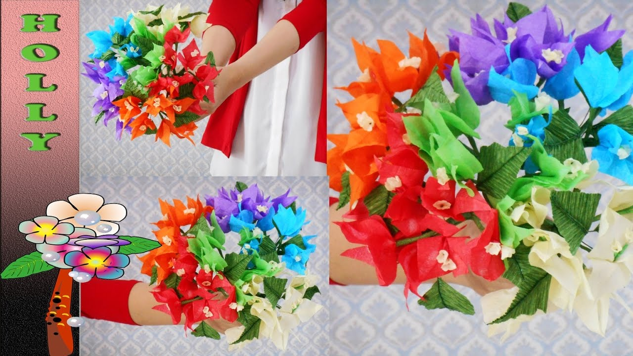 Tissue paper Flowers Bouquet : Rainbow Bougainvillea - YouTube