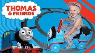 Thomas Train Power Wheels Ride-On Playtime Fun with Michael Fisher Price Round Track