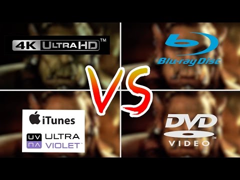 4K VS 1080p Blu-Ray VS DVD VS iTunes/UltraViolet - Review Comparison