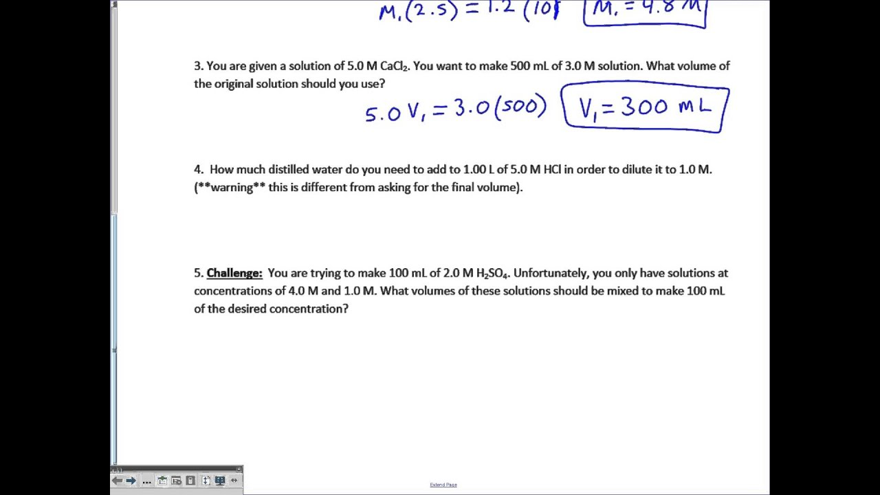 03 The Dilution Solution Worksheet Key Youtube