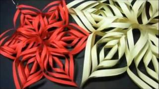 Adorno de Navidad: Copo de nieve de papel. How to make paper snowflakes.