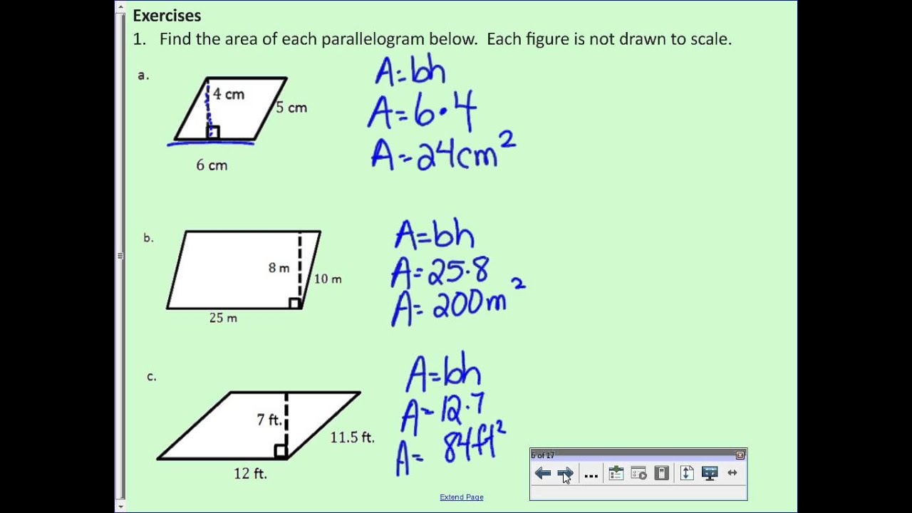 hight resolution of Area of Parallelograms (solutions