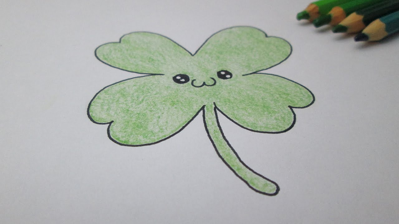Cómo dibujar un trébol de la suerte (trébol de cuatro hojas) - YouTube