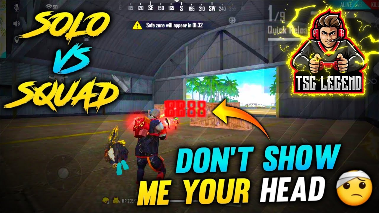 FREE FIRE : DON'T SHOW ME YOUR HEAD🤕 || SOLO VS SQUAD ONLY HEADSHOTS || MUST WATCH OP GAME❤️