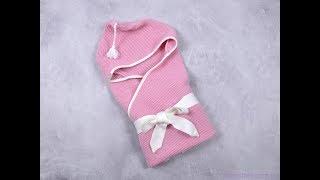 Вязанный конверт плед с кисточкой, розовый