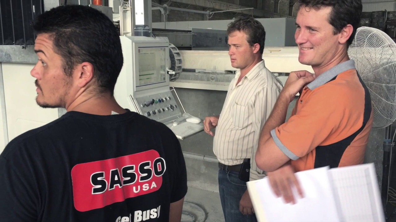 Making granite & quartz countertops with Sasso saws and line polishing machines.