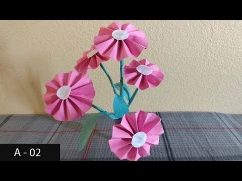 how-to-make-pink-paper-flowers-easily-|-construction-paper-flower-making-for-kids