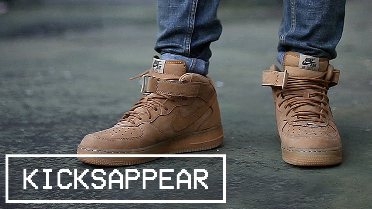 sale retailer 9acbc d9184 On Feet  Nike Air Force 1 Mid Flax