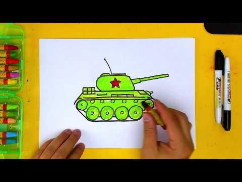 Как нарисовать ТАНК Т 34 просто для детей