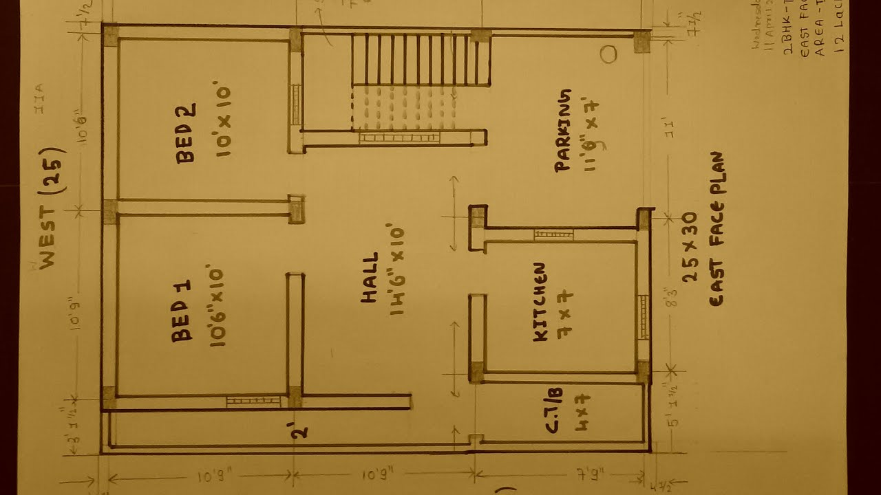 2bhk 25 × 30 East face house plan