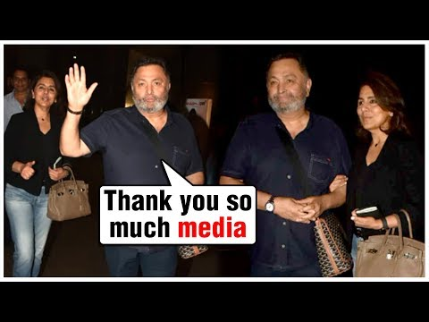 Rishi Kapoor Emotional   GRAND WELCOME @ Mumbai Airport, Returns From New York Post Cancer Recovery