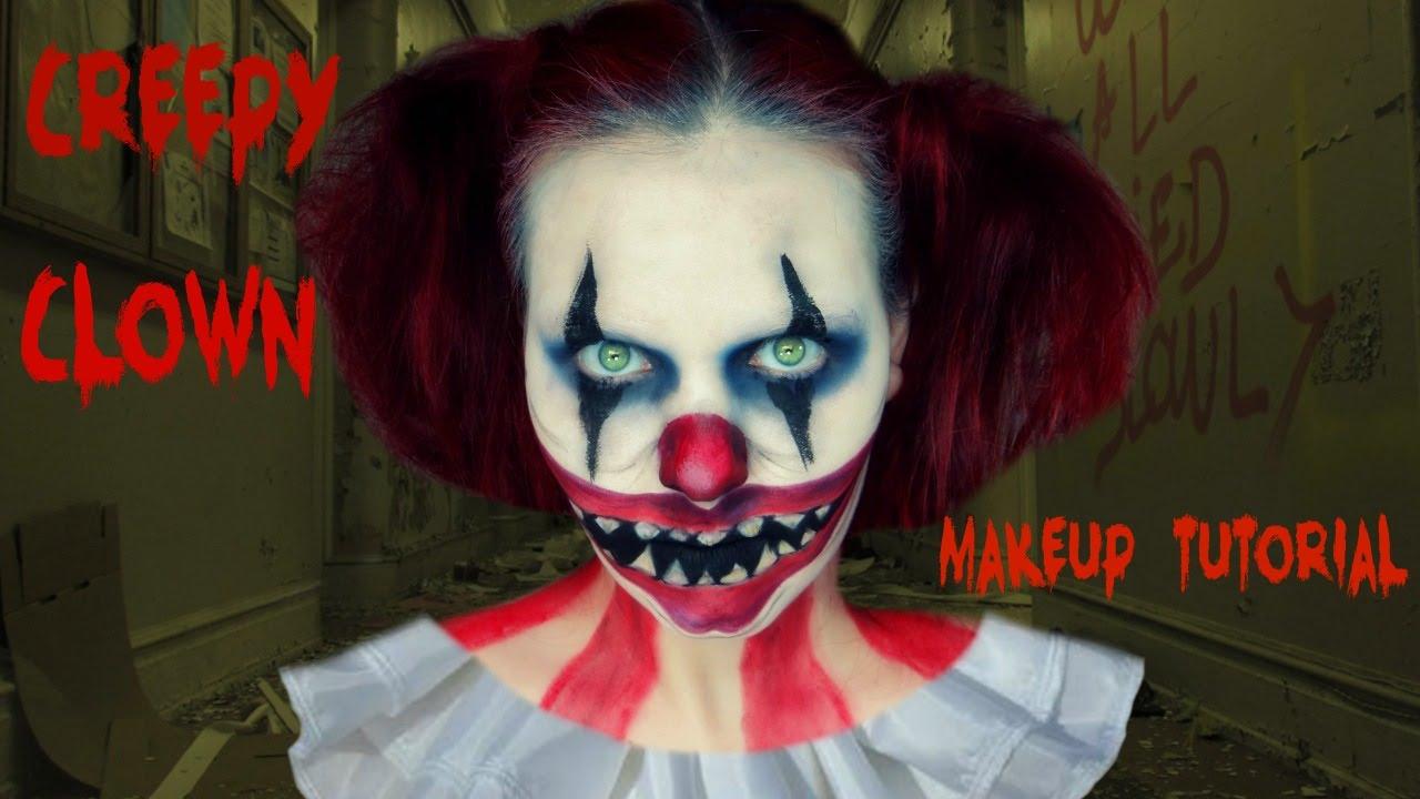 Creepy Clown Halloween Makeup Tutorial - YouTube