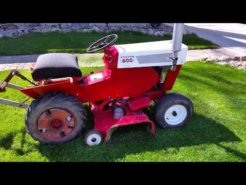 Sears Custom 600 first run with the mower deck - YouTube