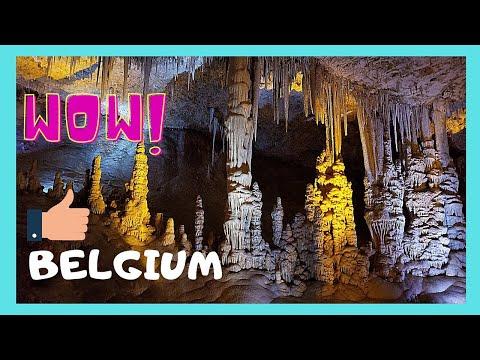 BELGIUM, beautiful CAVE OF LORRETE in ROCHEFORT, STALACTITES & LIGHT SHOW