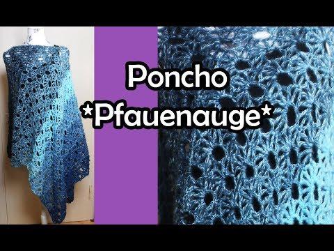 Poncho Pfauenauge Häkeln Bobbel Häkelanleitung видео