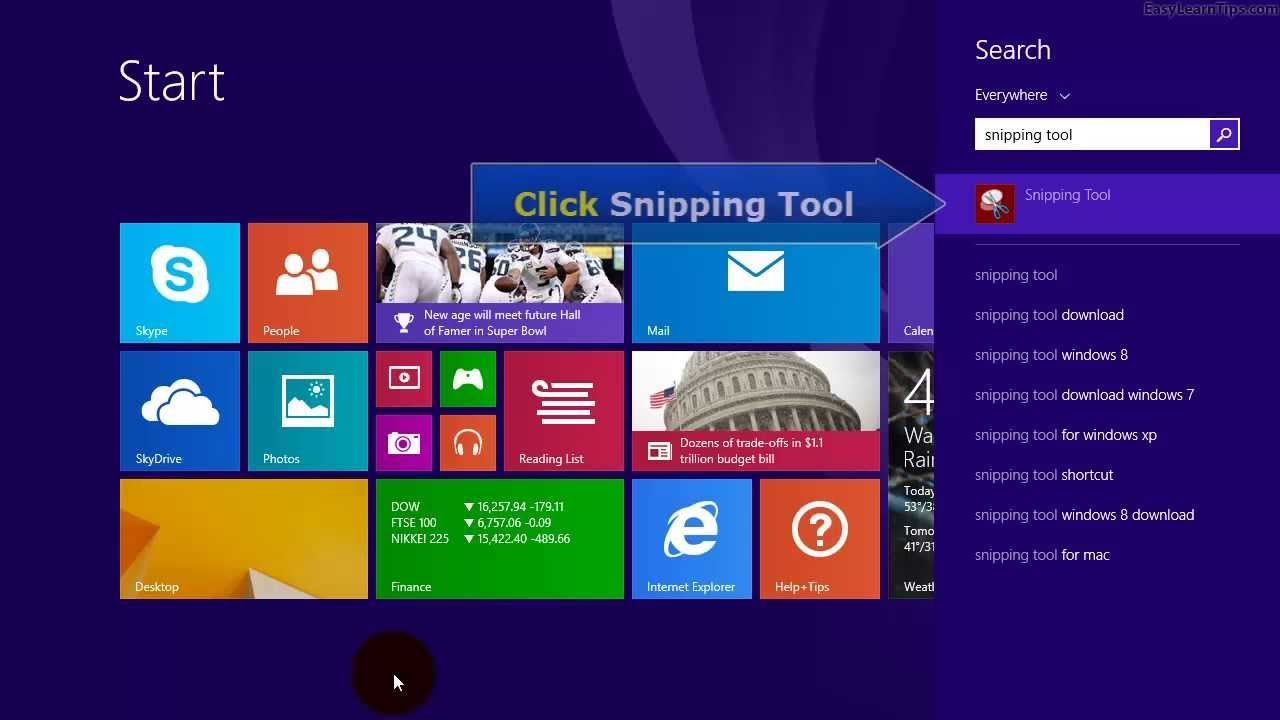 how to open snipping tool on windows