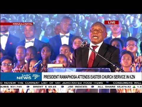 President Ramaphosa speaks during church service in KZN