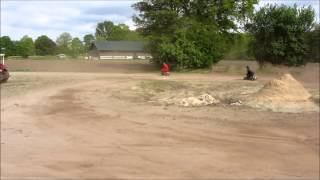 Driving beer box on dirt track